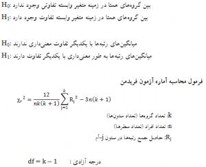 آزمونهای ناپارامتریک برای فرضیه های تفاوتی، فرمول محاسبه آزمون فریدمن