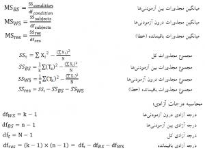 محاسبه نسبت F در تحلیل واریانس با اندازهگیریهای مکرر آزمونهای پارامتریک برای فرضیههای تفاوتی