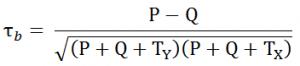 فرمول ضریب همبستگی رتبهای کندال b
